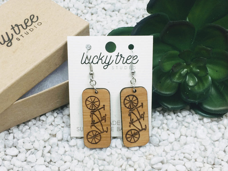 Tandem Bicycle Dangle Earrings