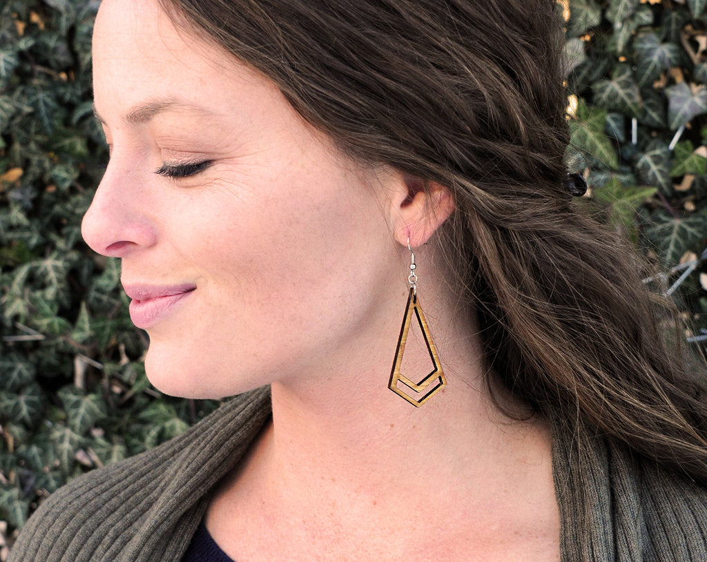 Chevron Kite Dangle Earrings