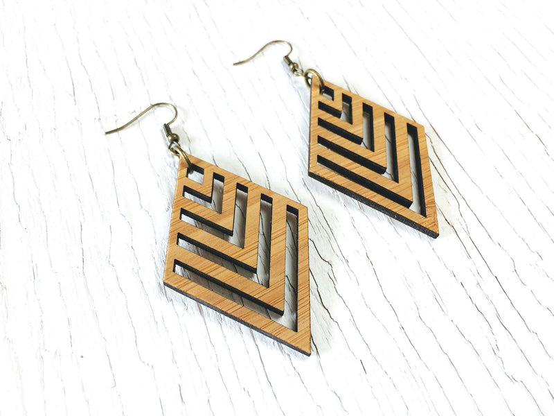 Diamond Chevron Dangle Earrings
