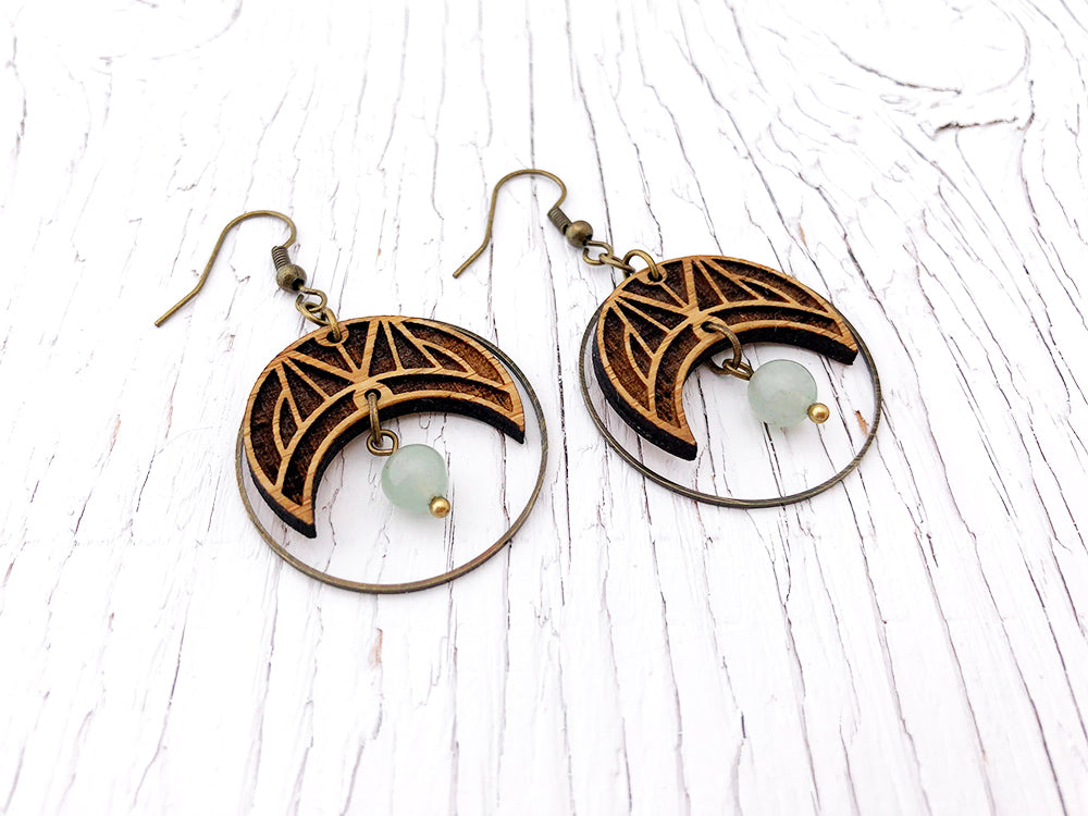 Gemstone Crescent Diffuser Earrings