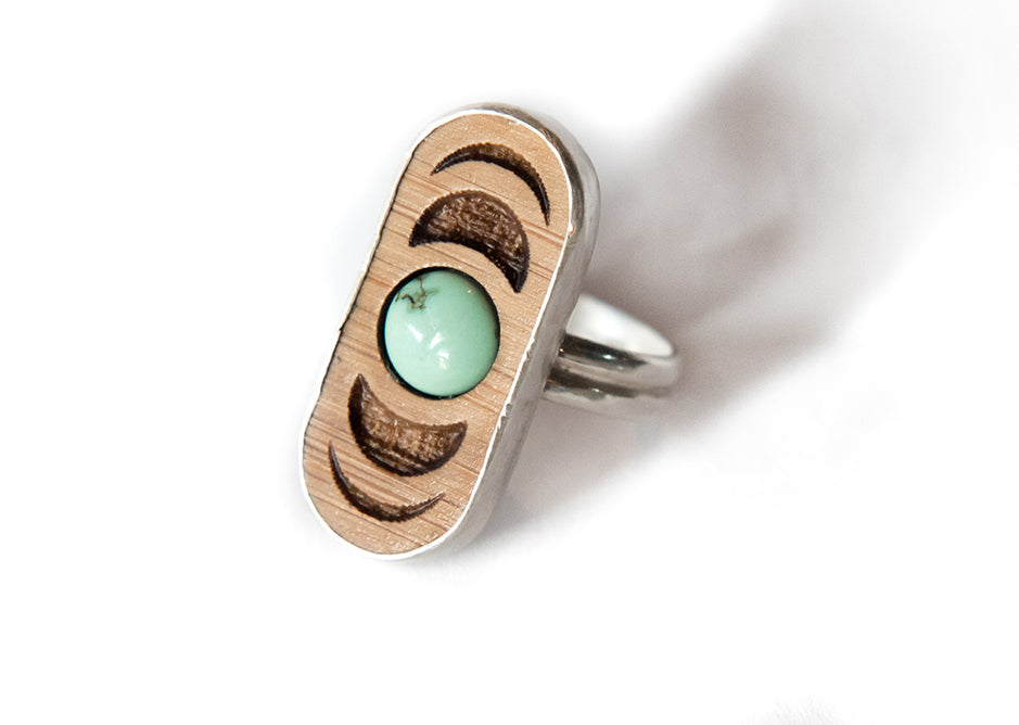 Sterling Silver Bamboo Moon Phase Ring