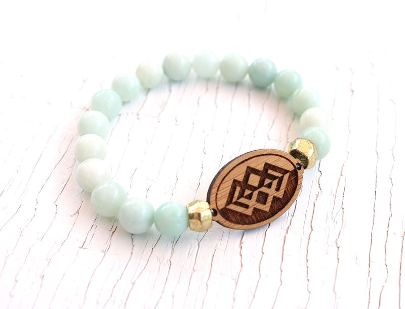 Mountain Reflection Amazonite Bamboo Diffuser Bracelet