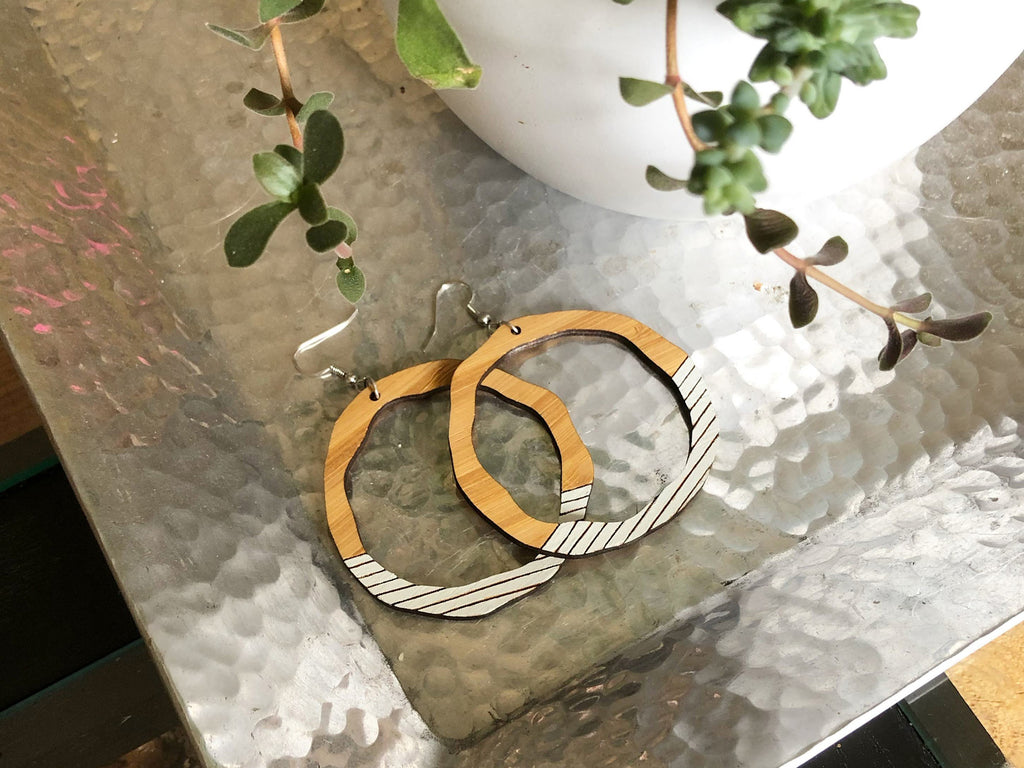 Organic Statement Hoop Bamboo Earrings