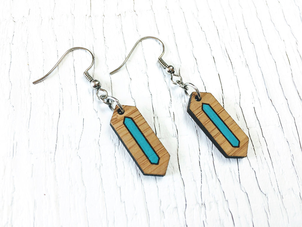 Painted Hexagon Dangle Earrings