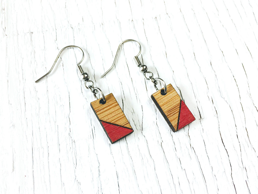 Painted Rectangle Dangle Earrings