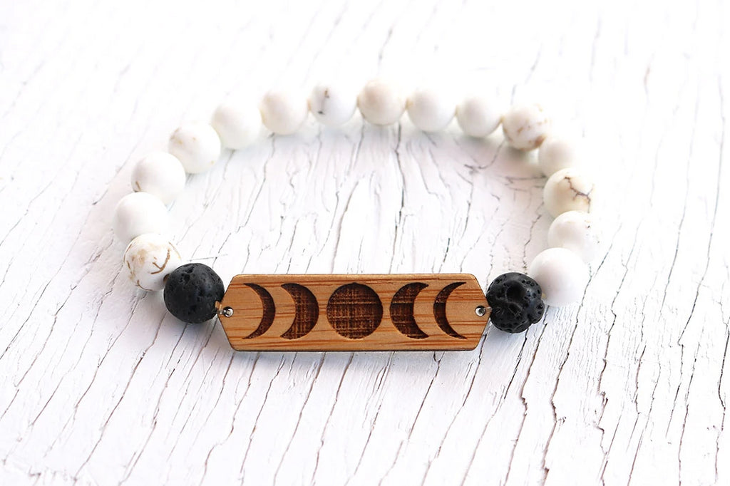 Serenity Moon Phase Howlite Bamboo Diffuser Bracelet