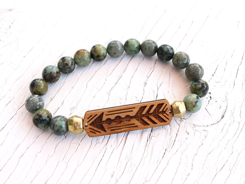Arrow African Turquoise Bamboo Diffuser Bracelet