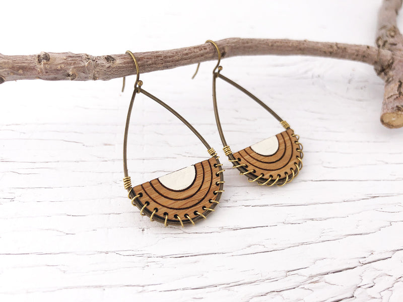 Wire Weave Teardrop Dangle Earrings