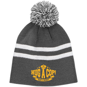 TT122 Team 365 Striped Pom Beanie-Hug A Cop