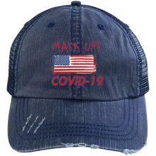 Distressed Unstructured Trucker Cap-Mask Up!-men's wear
