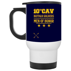 XP8400W White Travel Mug-10th Cav-drinkware