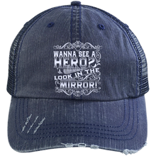 Men's cap- Distressed Unstructured Trucker Cap