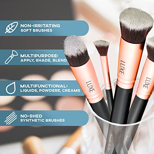 Luxe Makeup Brushes Set with Cleaning Solution