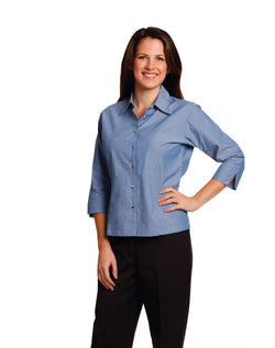 Winning Spirit Ladies' wrinkle free chambray shirt 3/4 sleeve