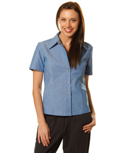 Winning Spirit Ladies w/f S/S chambray shirt
