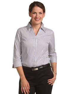 Benchmark Women's Sateen Stripe 3/4 Sleeve Shirt