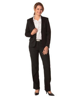 Benchmark Women's One Button Cropped Jacket in Poly/Viscose Stretch