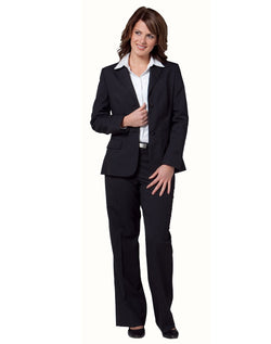 Benchmark Women's Two Buttons Mid Length Jacket in Poly/Viscose Stretch