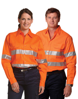 AIW Men's Hi-Vis L/S Drill Shirt With 3M Tapes