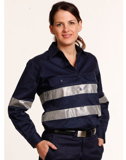 AIW Ladies HiVis Cotton Drill Long Sleeves Work Shirt with 3M Reflective Taps