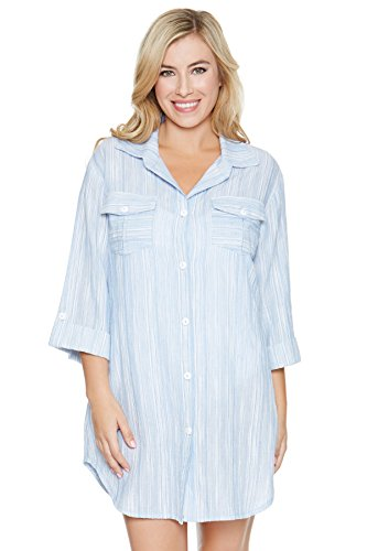 Dotti Women's Cottons Shirt Dress Swim Cover Up Blue/White XL - SINCOS CLOTHING WOMAN ONLINE CHEAP AFTERPAY DRESSES PLUS SIZE GOOGLE FASHION NEW STYLE HOT SEXY PARTY JUMPSUITS TOP TEES SUITS BLAZER JACKETS COATS HOODIES SWEATSHIRTS FLORAL BUSINESS