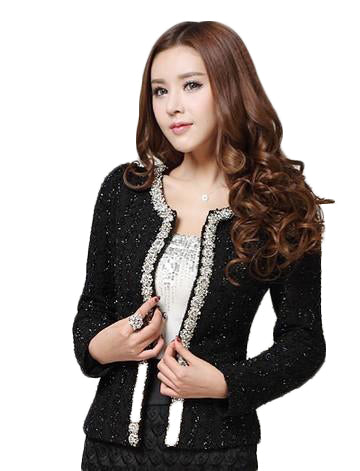 Beaded Diamond Short Coat Jackets & Coats SINCOS Women Clothing Store Flash Sales