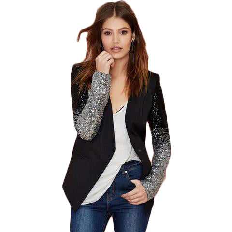 Black silver sequins Jackets Jackets & Coats SINCOS Women Clothing Store Flash Sales