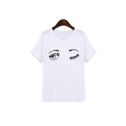 Blinking Printed T-Shirt - SINCOS CLOTHING WOMAN ONLINE CHEAP AFTERPAY DRESSES PLUS SIZE ZIPPAY