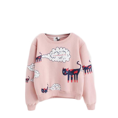 Cartoon Cat Pattern Sweatshirt - SINCOS CLOTHING WOMAN ONLINE CHEAP AFTERPAY DRESSES PLUS SIZE GOOGLE FASHION NEW STYLE HOT SEXY PARTY JUMPSUITS TOP TEES SUITS BLAZER JACKETS COATS HOODIES SWEATSHIRTS FLORAL BUSINESS