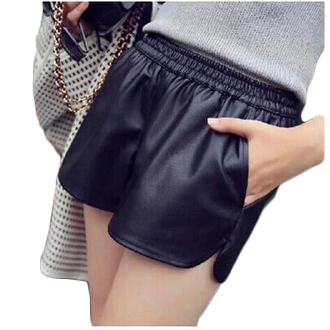 Cool Black Leather Casual Short