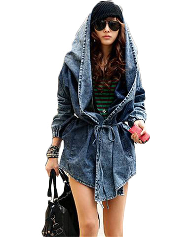 Denim Oversize Hoodie Jacket - SINCOS CLOTHING WOMAN ONLINE CHEAP AFTERPAY DRESSES PLUS SIZE GOOGLE FASHION NEW STYLE HOT SEXY PARTY JUMPSUITS TOP TEES SUITS BLAZER JACKETS COATS HOODIES SWEATSHIRTS FLORAL BUSINESS