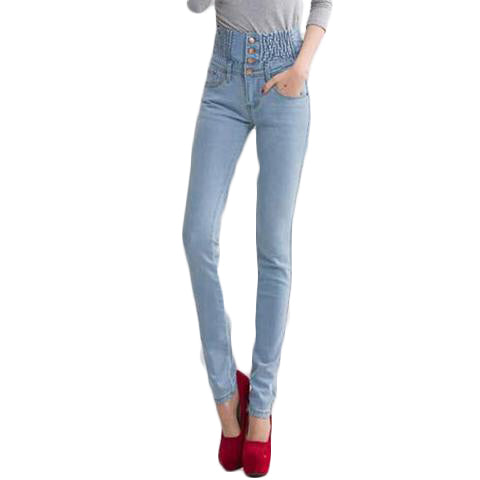 High Waist Elastic Skinny Denim