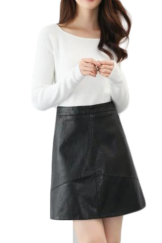 High Waist PU faux Leather Skirt - SINCOS CLOTHING WOMAN ONLINE CHEAP AFTERPAY DRESSES PLUS SIZE ZIPPAY