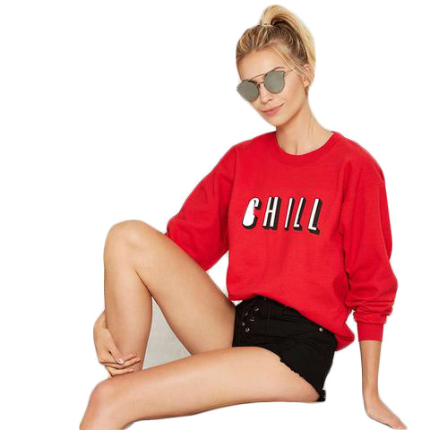Printed Loose Sweatshirt - SINCOS CLOTHING WOMAN ONLINE CHEAP AFTERPAY DRESSES PLUS SIZE ZIPPAY WISH ALIEXPRESS GOOGLE