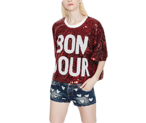 fb172c906fe Sleeve Letters Print Glitter - SINCOS CLOTHING WOMAN ONLINE CHEAP AFTERPAY  DRESSES PLUS SIZE ZIPPAY WISH