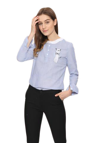 fd91af21367 Stripe Sweet Cartoon Cat Embroidery Shirts - SINCOS CLOTHING WOMAN ONLINE  CHEAP AFTERPAY DRESSES PLUS SIZE