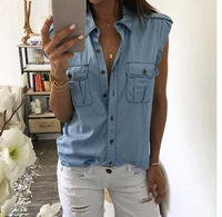 Denim Button Sleeveless Blouse - SINCOS CLOTHING WOMAN ONLINE CHEAP AFTERPAY DRESSES PLUS SIZE GOOGLE FASHION NEW STYLE HOT SEXY PARTY JUMPSUITS TOP TEES SUITS BLAZER JACKETS COATS HOODIES SWEATSHIRTS FLORAL BUSINESS