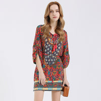 Dress O-Neck Drawstring Floral Dresses SINCOS Women Clothing Store Flash Sales