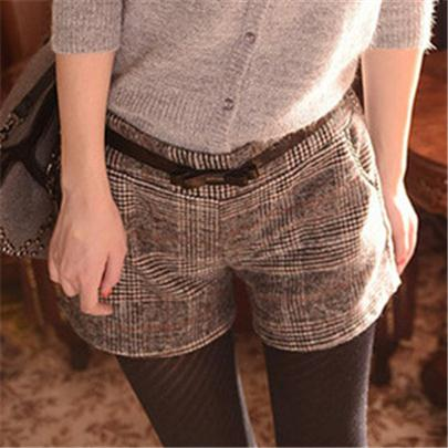 Khaki Plaid Casual Elastic Shorts - SINCOS CLOTHING WOMAN ONLINE CHEAP AFTERPAY DRESSES PLUS SIZE ZIPPAY