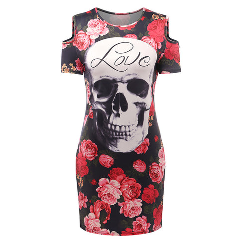 Casual Dress Floral Skull Print - SINCOS CLOTHING WOMAN ONLINE CHEAP AFTERPAY DRESSES PLUS SIZE ZIPPAY