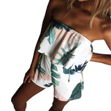 Green Leaf Off Shoulder Short Jumpsuit - SINCOS CLOTHING WOMAN ONLINE CHEAP AFTERPAY DRESSES PLUS SIZE ZIPPAY