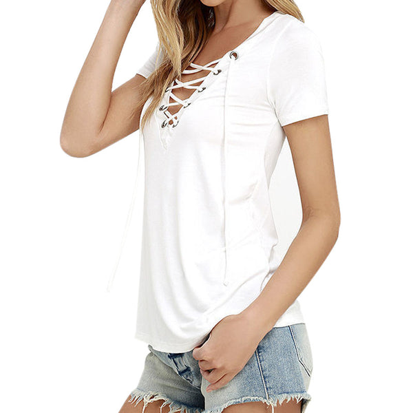 SINCOS Afterpay Clothing Cheap Women Online Dresses Jumpsuits Playsuits Tops Tshirts Iconic Princess Poly Bottoms Shorts Jeans Maxi Plus Size Clearance Sale sexy lace up short sleeve t shirt