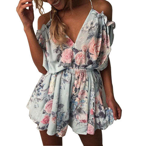 Bohemian Flower Floral Jumpsuit - SINCOS CLOTHING WOMAN ONLINE CHEAP AFTERPAY DRESSES PLUS SIZE ZIPPAY