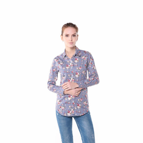 Floral Turn Down Collar  Blouse - SINCOS CLOTHING WOMAN ONLINE CHEAP AFTERPAY DRESSES PLUS SIZE ZIPPAY