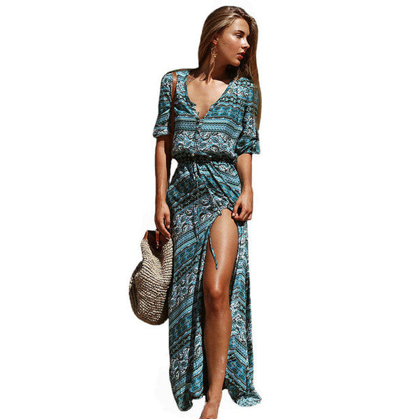 Deep V-neck Print Vintage Long Dress - SINCOS CLOTHING WOMAN ONLINE CHEAP AFTERPAY DRESSES PLUS SIZE GOOGLE FASHION NEW STYLE HOT SEXY PARTY JUMPSUITS TOP TEES SUITS BLAZER JACKETS COATS HOODIES SWEATSHIRTS FLORAL BUSINESS