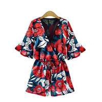 Flower V Neck Rompers - SINCOS CLOTHING WOMAN ONLINE CHEAP AFTERPAY DRESSES PLUS SIZE ZIPPAY WISH ALIEXPRESS GOOGLE