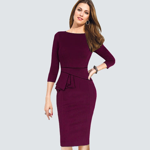 Three Quarter Sleeve Peplum Dress - SINCOS CLOTHING WOMAN ONLINE CHEAP AFTERPAY DRESSES PLUS SIZE GOOGLE FASHION NEW STYLE HOT SEXY PARTY JUMPSUITS TOP TEES SUITS BLAZER JACKETS COATS HOODIES SWEATSHIRTS FLORAL BUSINESS
