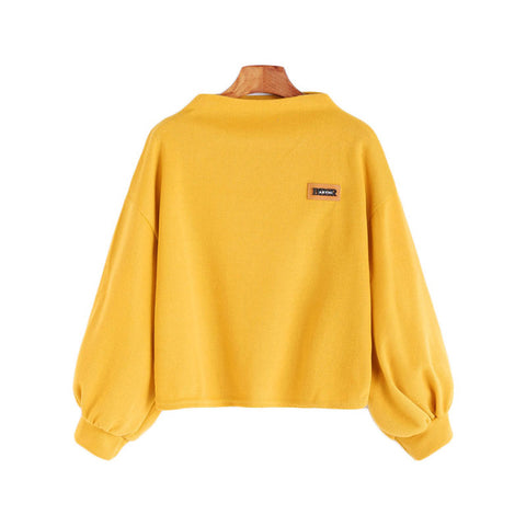 Solid Yellow Sweatshirt - SINCOS CLOTHING WOMAN ONLINE CHEAP AFTERPAY DRESSES PLUS SIZE ZIPPAY WISH ALIEXPRESS GOOGLE