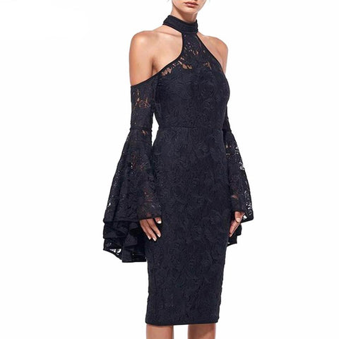 Black Halter Lace Celebrity - SINCOS CLOTHING WOMAN ONLINE CHEAP AFTERPAY DRESSES PLUS SIZE ZIPPAY