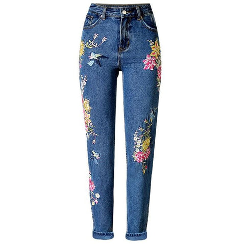 Flower Birds Embroidery Jeans - SINCOS CLOTHING WOMAN ONLINE CHEAP AFTERPAY DRESSES PLUS SIZE ZIPPAY